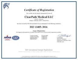 ClearPath Medical LLC ISO 13485:2016 Certificate of Registration